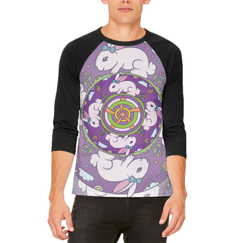 Mandala Trippy Stained Glass Easter Bunny Mens Raglan T Shirt