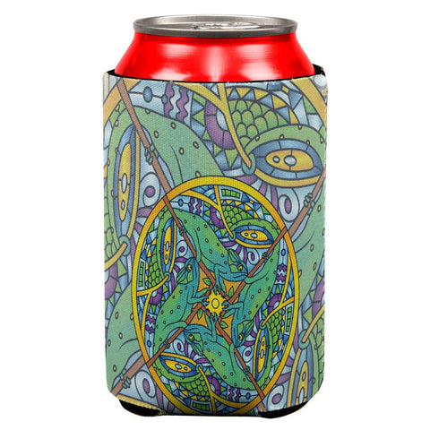 Mandala Trippy Stained Glass Chameleon All Over Can Cooler