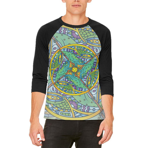 Mandala Trippy Stained Glass Chameleon Mens Raglan T Shirt
