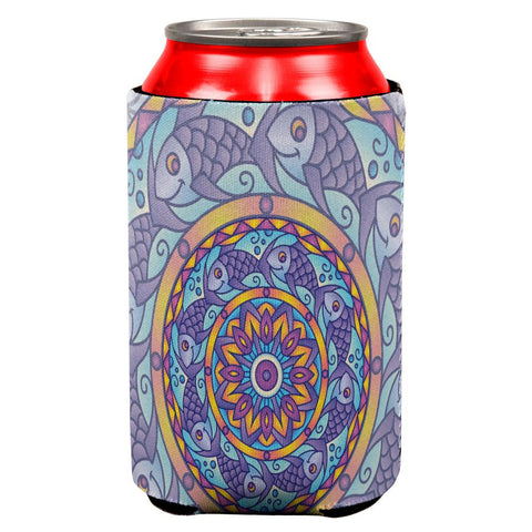 Mandala Trippy Stained Glass Fish All Over Can Cooler