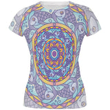 Mandala Trippy Stained Glass Fish All Over Juniors T Shirt