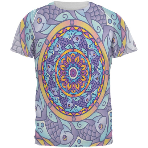 Mandala Trippy Stained Glass Fish All Over Mens T Shirt
