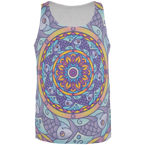 Mandala Trippy Stained Glass Fish All Over Mens Tank Top
