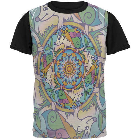 Mandala Trippy Stained Glass Hedgehog All Over Mens Black Back T Shirt