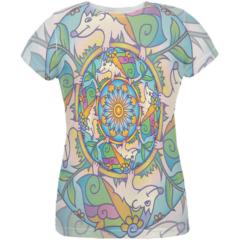 Mandala Trippy Stained Glass Hedgehog All Over Womens T Shirt