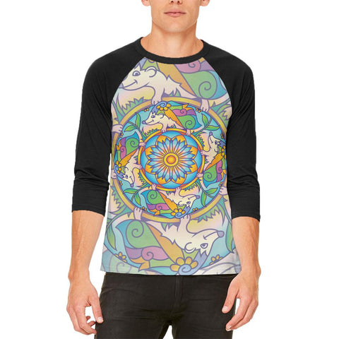 Mandala Trippy Stained Glass Hedgehog Mens Raglan T Shirt