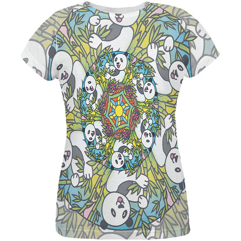 Mandala Trippy Stained Glass Panda All Over Womens T Shirt