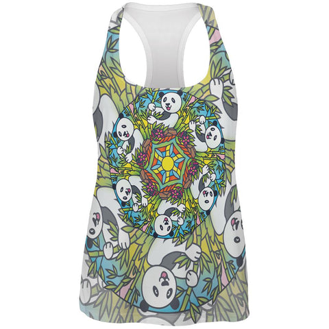 Mandala Trippy Stained Glass Panda All Over Womens Work Out Tank Top