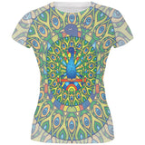 Mandala Trippy Stained Glass Peacock All Over Juniors T Shirt