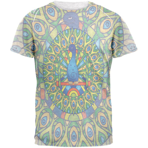 Mandala Trippy Stained Glass Peacock Mens T Shirt