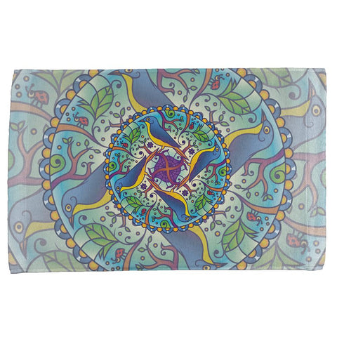 Mandala Trippy Stained Glass Spring Birds All Over Hand Towel