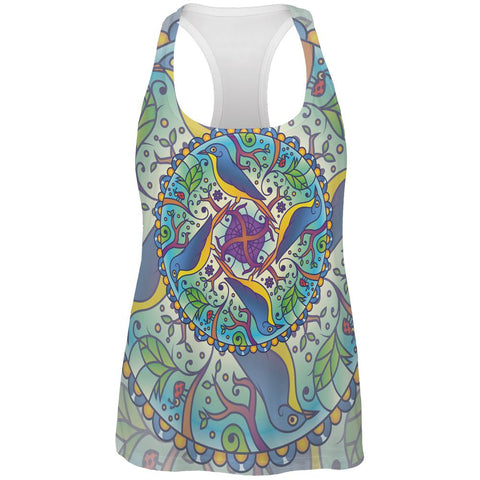 Mandala Trippy Stained Glass Spring Birds All Over Womens Work Out Tank Top