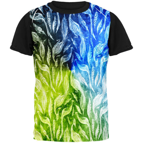 Peacocks And Feathers All Over Mens Black Back T Shirt