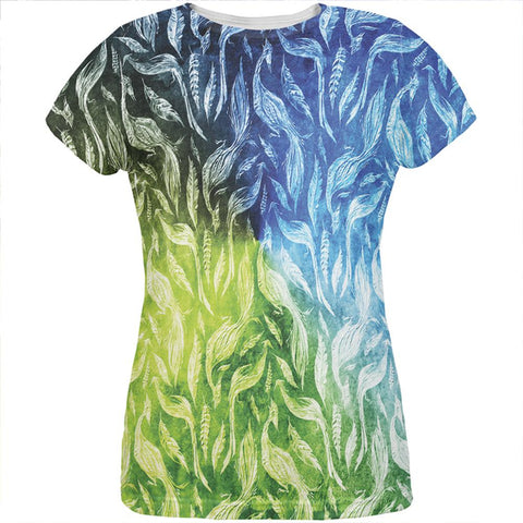 Peacocks And Feathers All Over Womens T Shirt