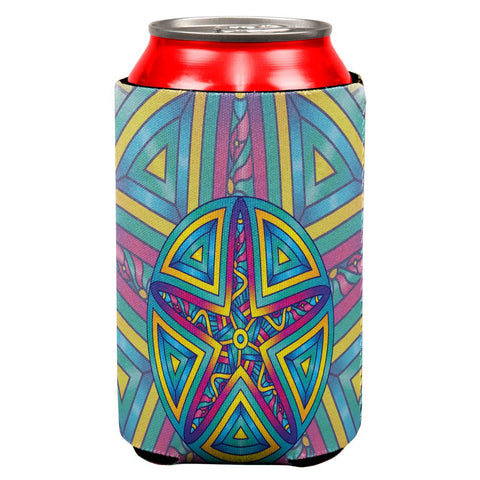 Mandala Trippy Stained Glass Starfish All Over Can Cooler