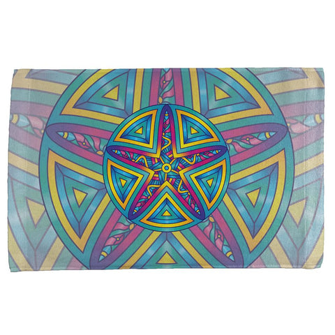 Mandala Trippy Stained Glass Starfish All Over Hand Towel