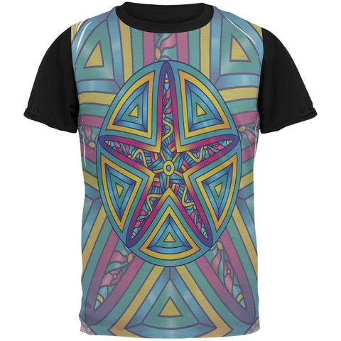 Mandala Trippy Stained Glass Starfish All Over Mens Black Back T Shirt