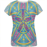 Mandala Trippy Stained Glass Starfish All Over Womens T Shirt