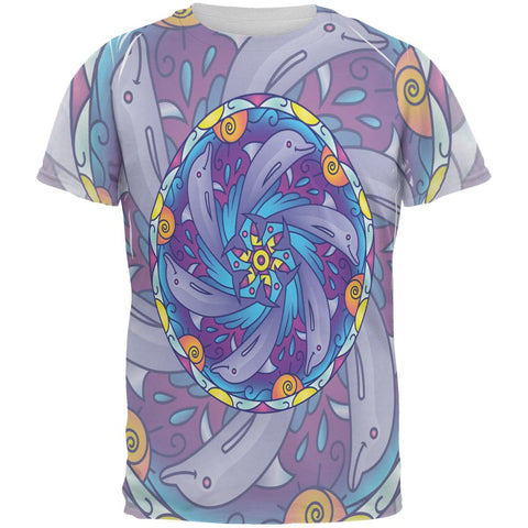 Mandala Trippy Stained Glass Dolphins All Over Mens T Shirt