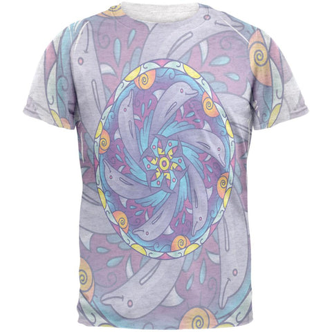 Mandala Trippy Stained Glass Dolphins Mens T Shirt