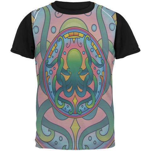 Mandala Trippy Stained Glass Octopus All Over Mens Black Back T Shirt