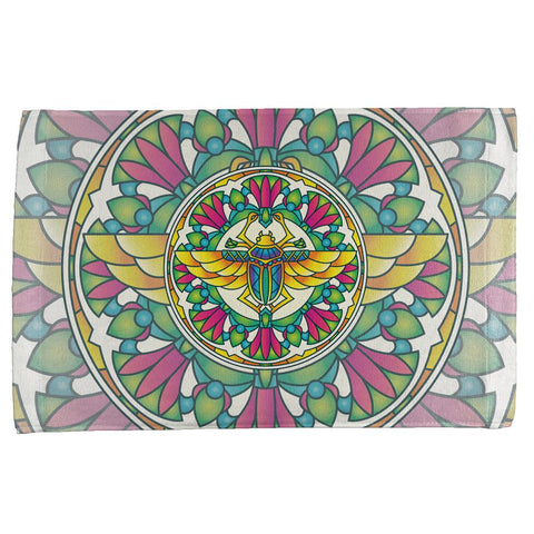 Mandala Trippy Stained Glass Scarab All Over Hand Towel