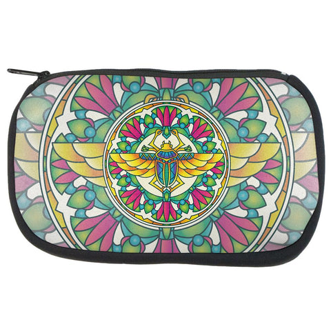 Mandala Trippy Stained Glass Scarab Makeup Bag