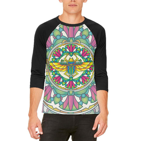 Mandala Trippy Stained Glass Scarab Mens Raglan T Shirt