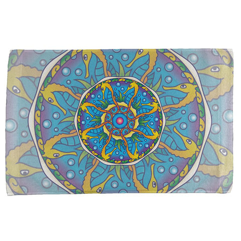 Mandala Trippy Stained Glass Seahorse All Over Hand Towel