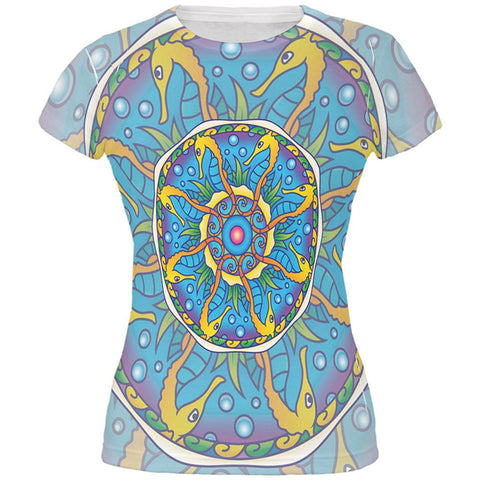 Mandala Trippy Stained Glass Seahorse All Over Juniors T Shirt