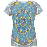Mandala Trippy Stained Glass Seahorse All Over Womens T Shirt