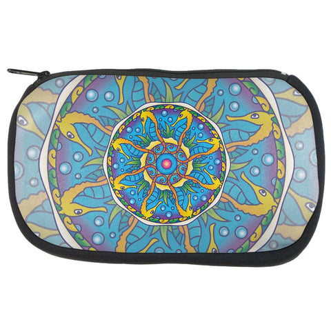 Mandala Trippy Stained Glass Seahorse Makeup Bag