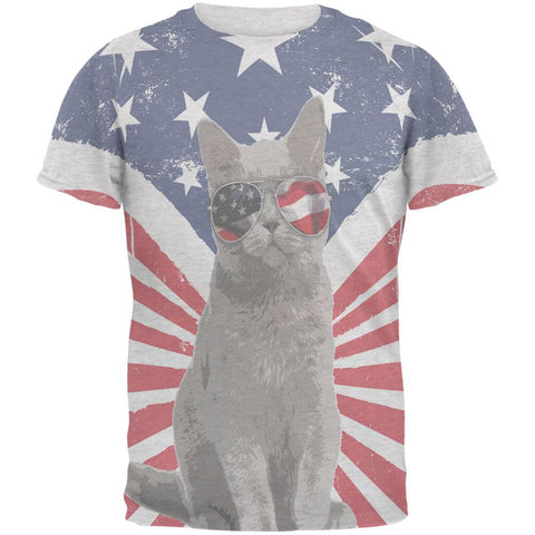 4th Of July Meowica America Patriot Cat Mens Soft T Shirt