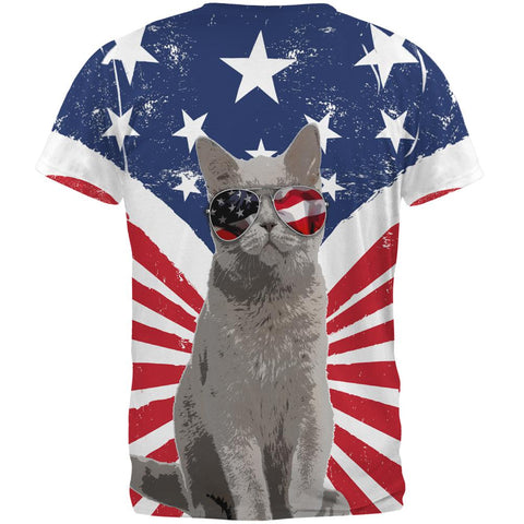4th Of July Meowica America Patriot Cat All Over Mens T Shirt
