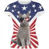4th Of July Meowica America Patriot Cat All Over Juniors T Shirt
