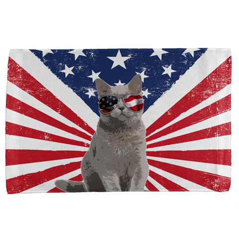 4th Of July Meowica America Patriot Cat All Over Sport Towel