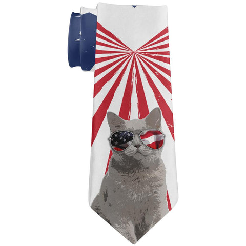 4th Of July Meowica America Patriot Cat All Over Neck Tie