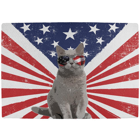 4th Of July Meowica America Patriot Cat All Over Indoor Mat