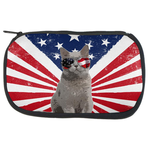 4th Of July Meowica America Patriot Cat Makeup Bag