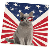 4th Of July Meowica America Patriot Cat Square Sandstone Coaster