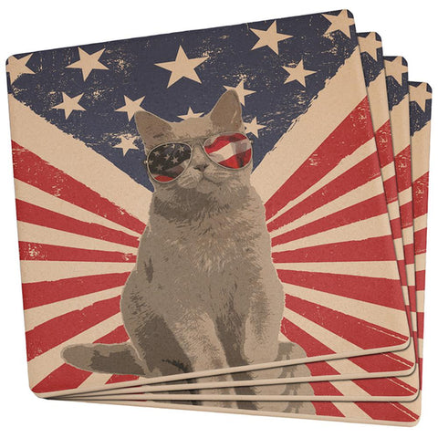 4th Of July Meowica America Patriot Cat Set of 4 Square Sandstone Coasters