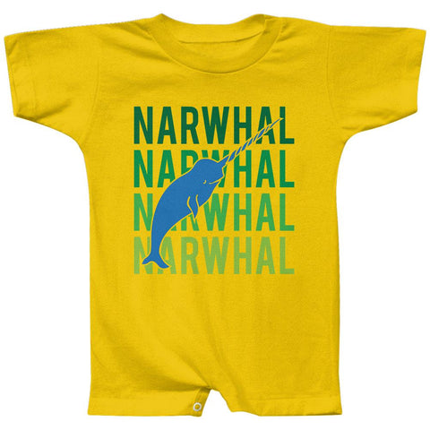 Narwhal Stacked Repeat Baby Romper