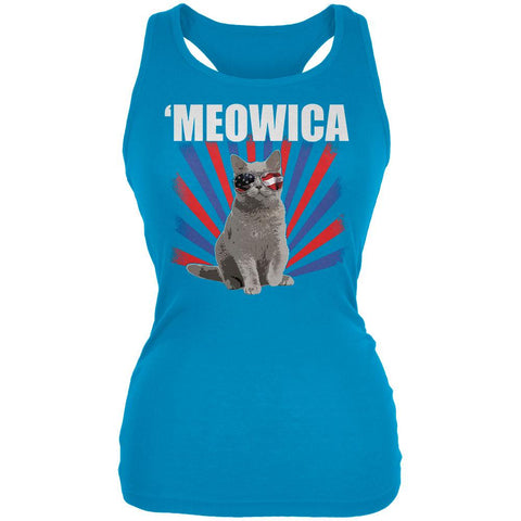 4th Of July Meowica America Patriot Cat Juniors Soft Tank Top