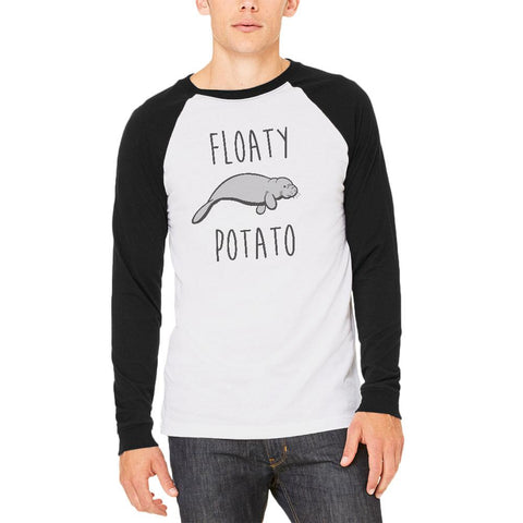 Floaty Potato Manatee Mens Long Sleeve Raglan T Shirt