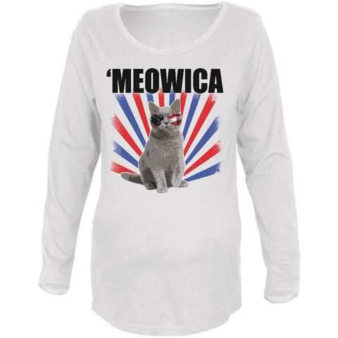 4th Of July Meowica America Patriot Cat Maternity Soft Long Sleeve T Shirt
