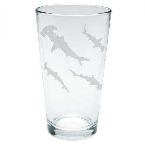 Hammerhead Shark Sharks School Etched Pint Glass