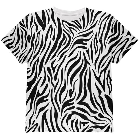Zebra Pattern Costume White All Over Youth T Shirt