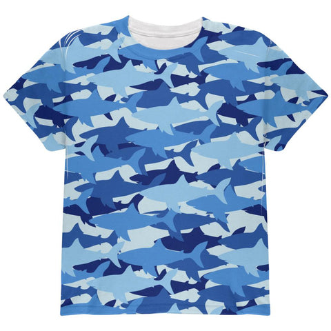 Great White Shark Camo All Over Youth T Shirt