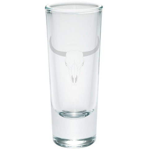 Bull Cow Steer Skull Southwestern Etched Shot Glass Shooter