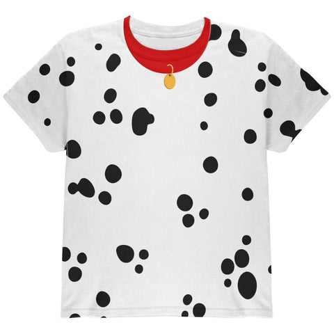 Halloween Dalmatian Costume Red Collar All Over Youth T Shirt